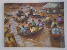 Orig. Asian Painting Oil China Myanmar Burma Lake Boys Girls in Boats, Ko Naing.