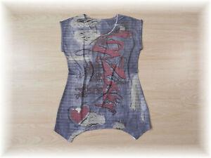 hübsches Zipfel Longshirt Shirt Tunika teils transparent * Gr. 38