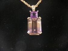 Unique 14k Yellow Gold Ametrine Accent Amethyst Pendant W/ Rope Necklace!  #1452
