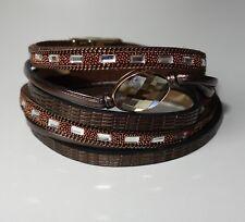 A432 - Wickelarmband - NEU - Braun Muster Strass Steine Magnet Armband Luxus