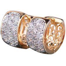 18K Real De Oro Lleno Aro Pendientes hecho con finos cristales de Swarovski Regalo