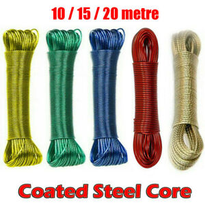 Clothes Line 10 15 20 30m Plastic Coated Steel Core Outdoor Drying 5 Colour Wash