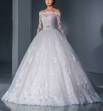 NEW Lace White/Ivory Wedding Dress Bridal Ball Gown Custom Size4-6-8-10-12-14-16