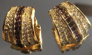 Vintage Christian Dior Gold Amethyst Rhinestone Clip Earrings