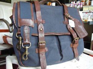 NEW vintage POLO Ralph Lauren Commuter Gentleman's Briefcase Bag Canvas Leather