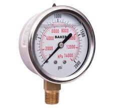 Baker AVNC-2000P Pressure Gauge, 0-2000 PSI / 0-14,000 kPa