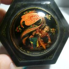 Vtg FIRE BIRD hexagon, signed, Russian Lacquer, Hand Painted TRINKET BOX hinged