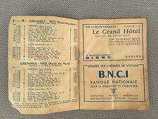 Antiguo documentos horarios bus Postal-Grenoble 1959 berliet colección papeles