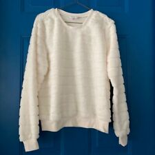 No Boundaries Womens Pullover Sweater White Faux Fur Long Sleeve Juniors M (7-9)