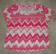 Womens Sonoma Hot Pink & White Embellished Knit Top - Size PXL - Very Nice!