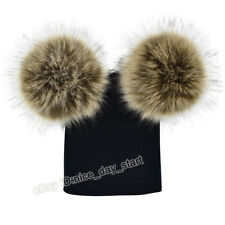 Baby Kids Boy Girl Knitted Hat Cap With Two Pom Pom Balls Winter Warm Hat Beanie