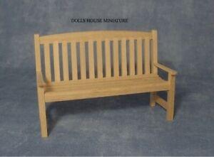 Plain Wood Garden Bench, Dolls House Miniatures, Garden Furniture