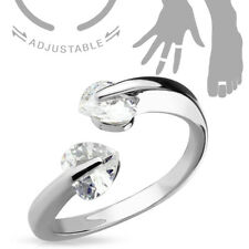 Double Tension Set Cz Gem Hearts Adjustable Toe Ring