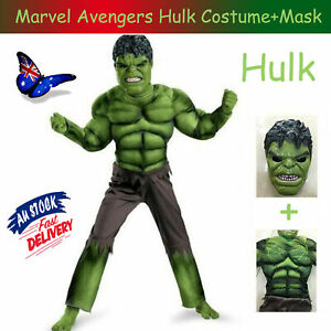 Marvel Avengers Costume Hulk Age 3-8 Boys Kids Costume Muscle Suit Cosplay