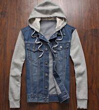 New Man Casual Denim Jean Hoodie Sweater Top Jacket S M L XL