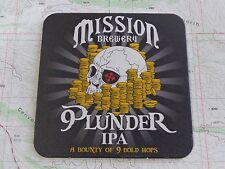 Beer Bar Coaster ~ MISSION Brewery Plunder IPA ~ A Bounty of 9 Bold Hops ~ CALIF