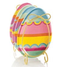 Set of 4 Avon ceramic egg shaped Easter appetizer plates & wire plate holder New