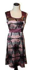 Annabelle Lavender Grey Pink Floral Silky Sleeveless Empire Tie Waist Dress L