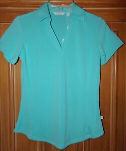 NWT LADY HAGEN WOMENS SIZE XS TEAL BLUE SHORT SLEEVE GOLF POLO QUICK DRY