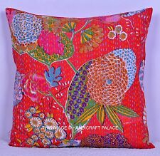"16"" Indian Handmade Red Floral Kantha Patchwork Cushion Cotton Pillow Case Throw"