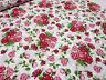 Stoff Baumwolle Popeline Rosen weiß rot rosa grün Blusenstoff Kleiderstoff