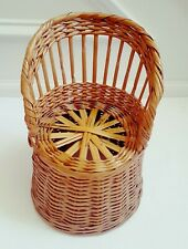 "Vtg Wicker Chair Rattan Wood 9 1/2"" Fan Back Throne Natural Wood"