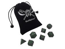 Rackne's Curse | Gunmetal Gray with Green Numbers Metal Dice Set (7 Die in Pack)
