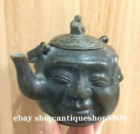 Rare Tibet Buddhism Bronze Four different expression 喜怒哀乐 Wine Pot Flagon Stoup