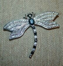 black and white brooch. signed. Beautiful silver tone Dragonfly cz