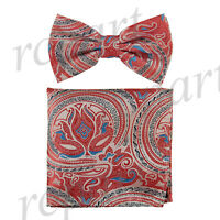 New Men's Pre-tied Bow Tie & hankie set paisley floral red blue formal wedding