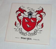MacGill of Rankeillor Scotland COAT OF ARMS  FAMILY CREST BEAUTIFUL ART TILE