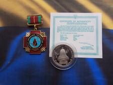 SOVIET UKRAINIAN CHERNOBYL LIQUIDATOR AWARD BADGE+COIN CHERNOBYL DISASTER.
