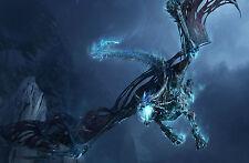 Framed Print - Blue Lightning Dragon (Mythological Picture Mythology Fantasy Art