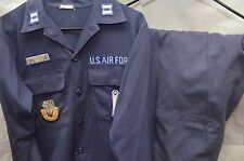 Vintage U.S. Air Force Captain Work Shirt & Pants W/Multiple Patches Size 16 ½