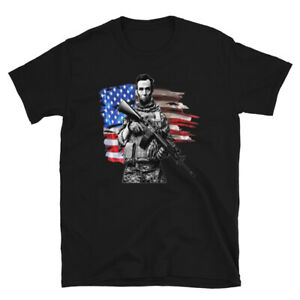 Tactical Abe Lincoln Soldier with Flag Short-Sleeve Unisex T-Shirt