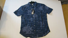 NWT Reyn Spooner Men M Blue Haze Beach Dreams Flannel Short Sleeve Shirt