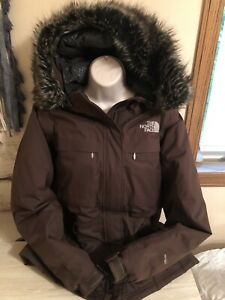 Womens The North Face Brown Sz M HyVent Goose Down Jacket Coat w/ Faux Fur Hood