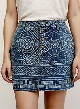 NEW Free People Denim Tribal Ethnic Printed 4 button Straight Mini Skirt 4