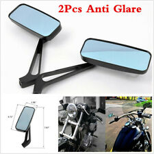 2Pcs Y Black Motorcycle Rectangle Mirrors For CRUISER Sportster Chopper Bobber