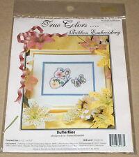 "True Colors ""Butterflies"" Floral Ribbon Embroidery Kit NIP 6.5x4.5"""