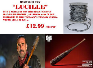 """MAKE A """"LUCILLE"""" WITH 5 METERS OF SILVER LEATHER BARBED WIRE REALISTIC SAFER"""