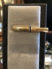 Vintage 14k Gold and Sapphire Tie Clip Clasp Hallmarked Barrel Shaped