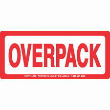 Red and White OVERPACK Labels 6in x 2.5in (Roll of 500 labels)