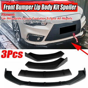 Matte Black Car Front Bumper Lip For Mitsubishi Lancer Evolution Eclipse EVO