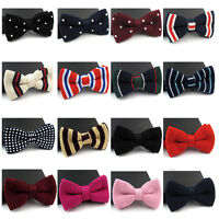 Men Polka Dot Solid Color Striped Knitted Bowtie Winter Weave Adjustable Bow Tie