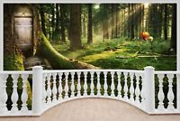 Huge 3D Balcony Enchanted Forest Wall Stickers Mural Decal Wallpaper 59