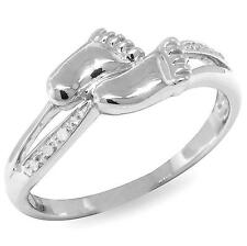 Natural Baby Feet Real Diamond 9ct 9K 375 Solid White Gold Ring