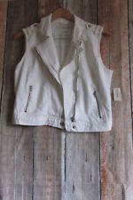 // Aeropostale Denim White Jean Moto Zip Vest Cotton Blend Size L Large