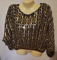 Three Flaggs XL Sequin 3/4 Sleeve Blouse NWOT,GoldSequins,BlackSequins,Fancy Top