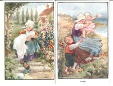 LOT: 2 VINTAGE ETHEL PARKINSON DUTCH ART POSTCARDS GIRLS BABIES FLOWERS WIND!